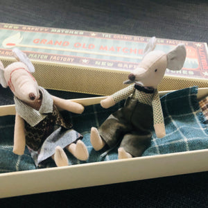 Grandpa & Grandma Mouse in a Matchbox