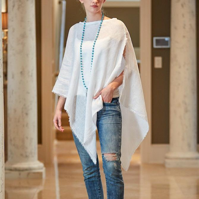 Juliet Linen Poncho with Fringe