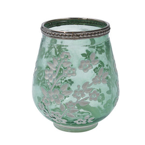 Green Glass Blossom T-Lite Holder