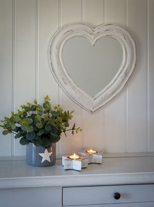 Heart Shaped Mirror - White