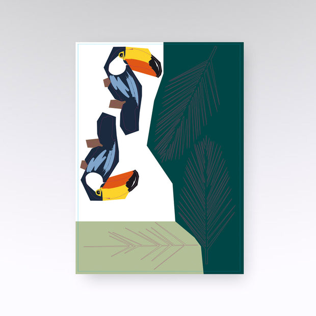 Stickers muraux Toucan bleu orange et feuille verte