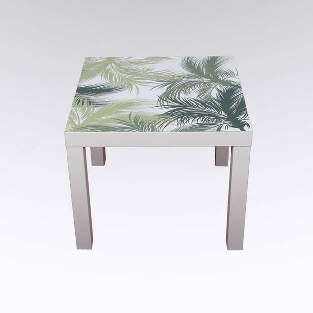 sticker table basse motif JUNGL palmiers vert et blanc