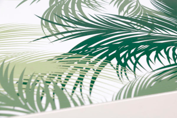 sticker table basse motif JUNGL palmiers vert et blanc Zoom