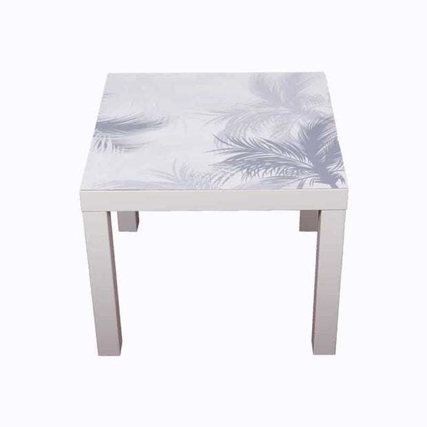 sticker table basse motif JUNGL palmiers gris et blanc