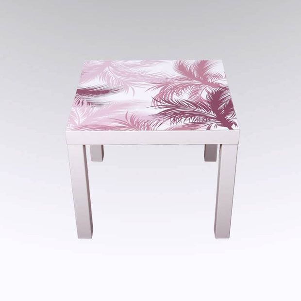 sticker table basse motif JUNGL palmiers rose et blanche