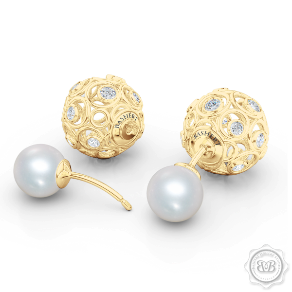 Shop our Akoya pearls designs. Double-sided tribal pearl earrings and pearl key pendants.