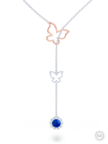 Bashert Jewelry. Custom Online Jewelry for your special occasion. Boca Raton Florida. Shop our Lapis Lazuli Lariat Necklace.