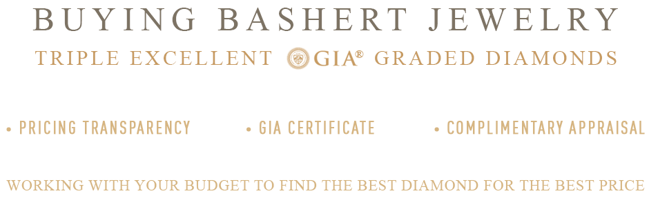Buying a Bashert Jewelry Triple Excellent Graded Diamonds. Our Diamond Commitments to you. How to buy the best diamond for your budget.
