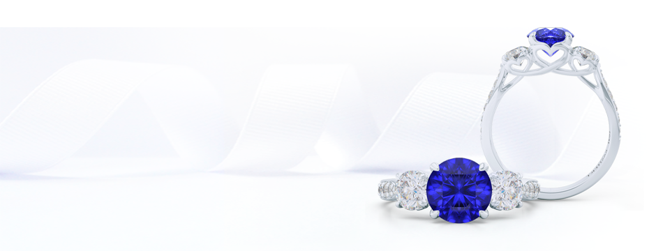 Custom Sapphire and Diamonds Three-Stone Engagement Ring. Create your dream ring online, working directly with our lead designer and goldsmith. Bashert Jewelry. Boca Raton Florida