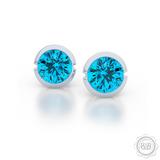 Blue Topaz silver Martini Stud Earrings. Bashert Jewelry. Proudly Handcrafted in USA.