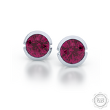 Raspberry Rhodolite Garnet Silver Martini Stud Earrings. Bashert Jewelry. Proudly Handcrafted in USA.
