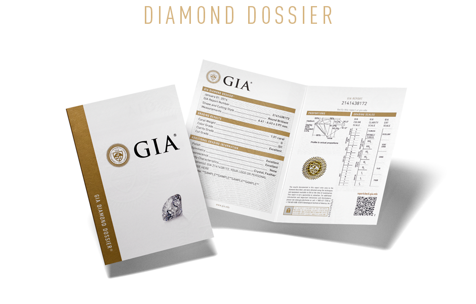 GIA Diamond Dossier document. Understanding the value and quality of a diamonds. Bashert Jewelry Boca Raton Florida