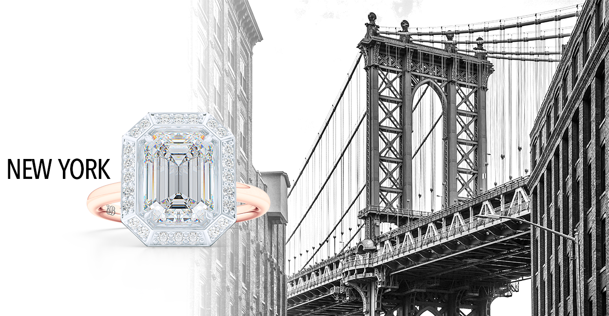 Signature Emerald Cut Halo engagement ring. Hand-fabricated in two tone Gold and GIA certified Diamond, Moissanites and Lab-Grown Diamonds available. BASHERT JEWELRY