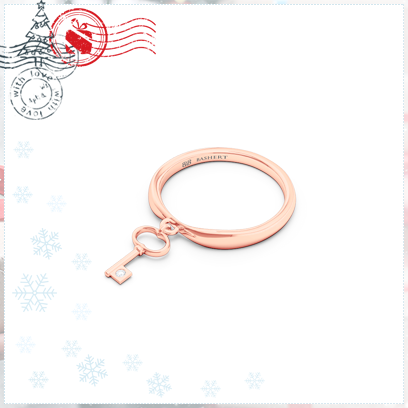 Fashion Key Charm Band Ring in Rose Gold. Bashert Jewelry