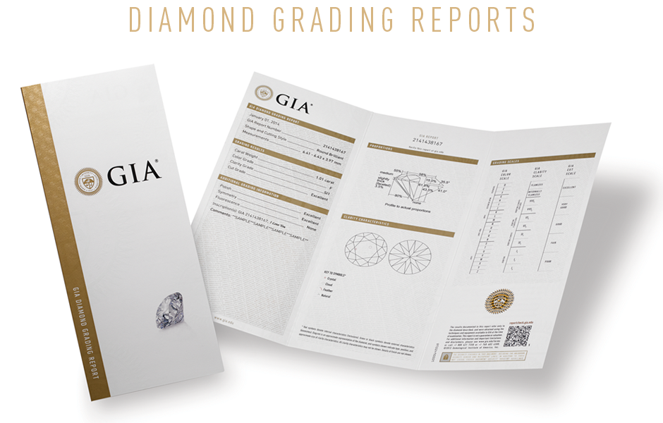GIA Diamond's  4C's  grading report document. Understanding the value and quality of a diamonds. Bashert Jewelry Boca Raton Florida