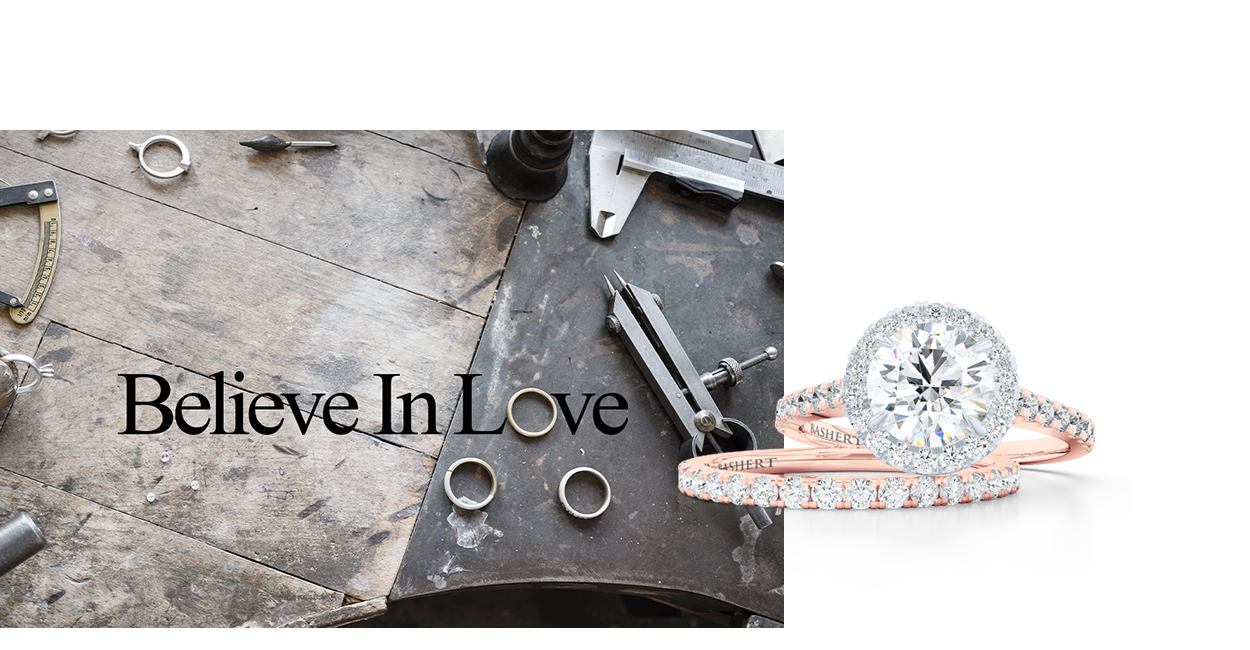 Signature collection of hand-fabricated engagement rings and wedding bands. GIA Diamonds, Moissanites and Lab-Grown Diamonds available. BASHERT JEWELRY