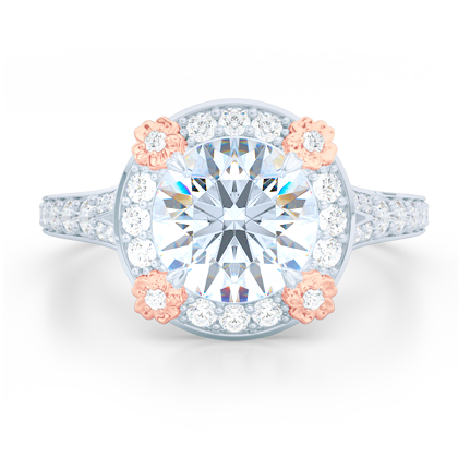 Round Halo Engagement Ring inspired by Spring.