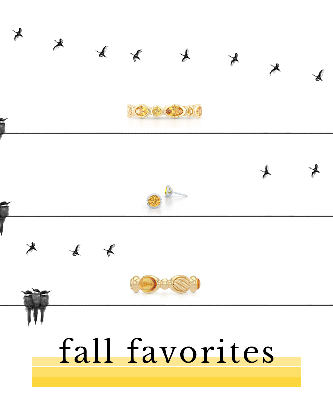 Citrine gemstone rings and earrings. Fall color favorites. Bashert Jewelry. Boca Raton, Florida
