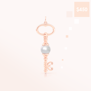 Delicate Rose Gold Key Pendant Necklace, adorned with a Genuine Akoya Pearl. Bashert Jewelry