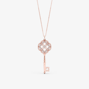 Elegant Rose Gold Key Pendant Necklace. Bashert Jewelry