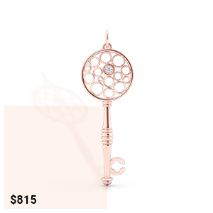 Rose Gold key pendant necklace. Dainty bezel diamond accent. Bashert Jewelry. Boca Raton, Florida.