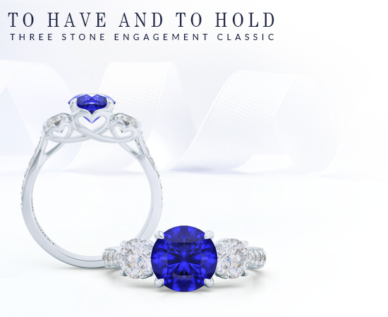 Custom Classic Three-Stone Engagement Rings. Create your dream enagagement ring online, working directly with our lead-designer and goldsmith. Bashert Jewelry. Boca Raton Florida