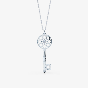 Elegant key pendant necklae crafted in white gold. Bashert Jewelry
