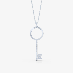 Elegant urban design key pendant necklace. Bashert Jewelry