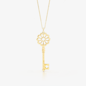 Flower inspired KEy Pendant crafted in Yellow Gold. Bashert Jewelry