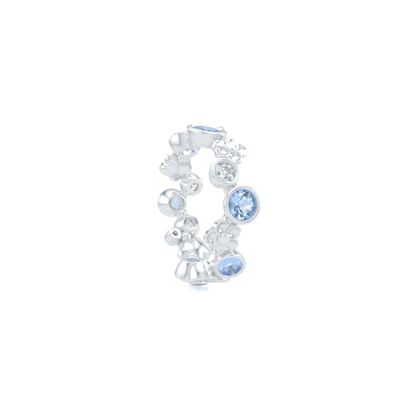 Floral Fashion Band. Handcrafted in Bright White Gold or Platinum. Aquamarine and Brilliant Diamonds, alternating in a playful design. Customize this design with Birthstone Gems of Your Choice. Free Shipping USA. 15 Day Returns. BASHERT JEWELRY | Boca Raton, Florida
