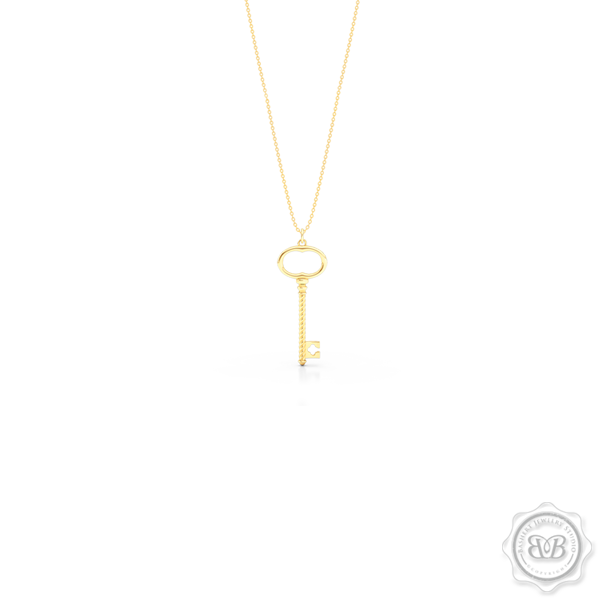 Classic Key Pendant Necklace with a clover accent. Handcrafted in Classic Yellow Gold. Available in three sizes. Free Shipping USA. 30 Day Returns. Free Silver Chain option. | BASHERT JEWELRY | Boca Raton, Florida