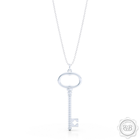 Classic Key Pendant Necklace with a clover accent. Handcrafted in Sterling Silver or White Gold. Available in three sizes. Free Shipping USA. 30 Day Returns. Free Silver Chain option. | BASHERT JEWELRY | Boca Raton, Florida