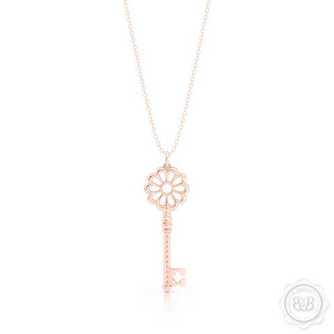 Intricate Key Pendant Necklace, inspired by Venetian architecture elements. handcrafted in 14K or 18K Rose Gold. Available in three sizes. Free Silver Chain option. Free Shipping USA. 30-Day Returns. | BASHERT JEWELRY | Boca Raton, Florida