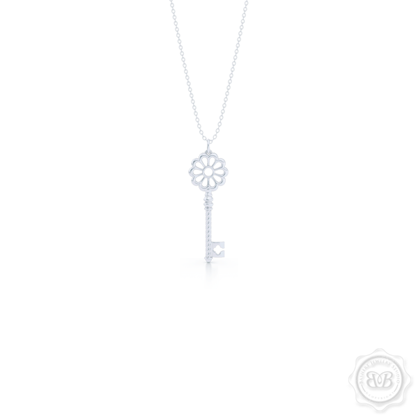 Intricate Key Pendant Necklace, inspired by Venetian architecture elements. handcrafted in Sterling Silver or White Gold. Available in three sizes. Free Silver Chain option. Free Shipping USA. 30-Day Returns. | BASHERT JEWELRY | Boca Raton, Florida