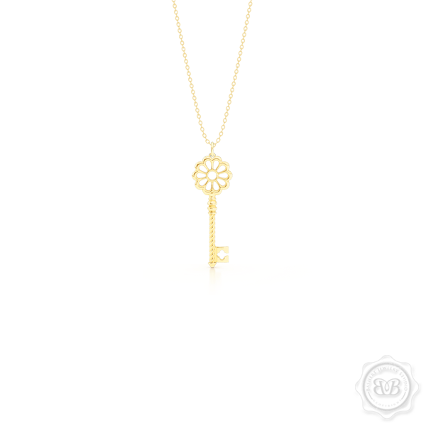 Intricate Key Pendant Necklace, inspired by Venetian architecture elements. handcrafted in 14K or 18K Yellow Gold. Available in three sizes. Free Silver Chain option. Free Shipping USA. 30-Day Returns. | BASHERT JEWELRY | Boca Raton, Florida