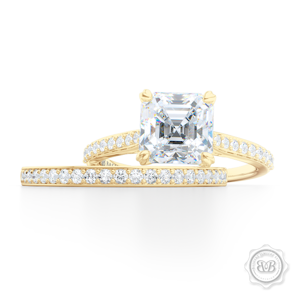 Classic Four-Prong GIA Certified Asscher Cut Diamond Solitaire Ring Handcrafted in Classic Yellow Gold and Platinum. Elegantly Tapered Bead-Set Diamond Shoulders. Find a GIA Certified Diamond Tailored to Your Budget. This Design Offers a Matching Bead-Set Diamond Wedding Band For Her. Free Shipping USA. 30Day Returns | BASHERT JEWELRY | Boca Raton Florida