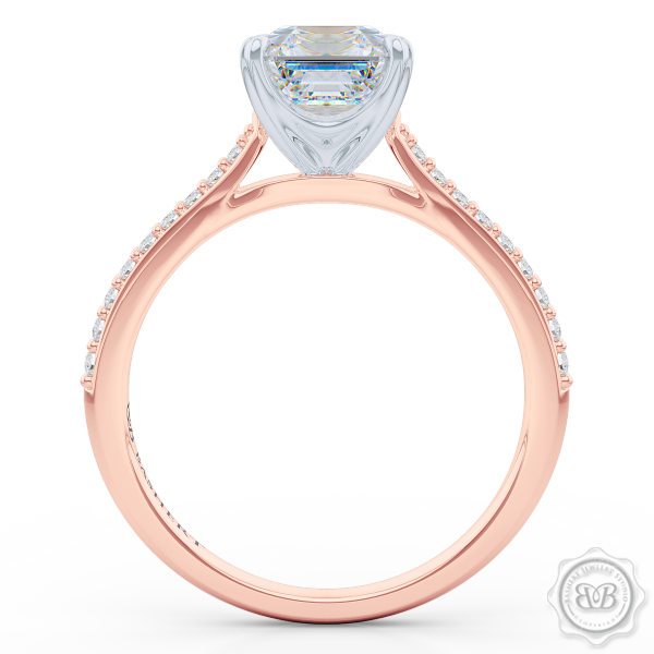 Classic Four-Prong Asscher Cut Diamond Solitaire Ring. Handcrafted in two-tone Rose Gold and Platinum. Elegantly Tapered Bead-Set Diamond Shoulders.  GIA Certified center Diamond.  Free Shipping USA. 30-Day Returns | BASHERT JEWELRY | Boca Raton, Florida.