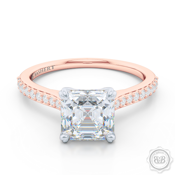 Classic Four-Prong Asscher Cut Moissanite Solitaire Ring. Handcrafted in two-tone Rose Gold and Platinum. Elegantly Tapered Bead-Set Diamond Shoulders. Forever One Charles & Colvard Moissanite.  Free Shipping USA. 30-Day Returns | BASHERT JEWELRY | Boca Raton, Florida.