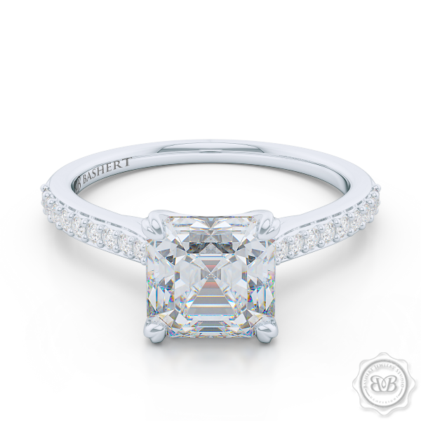 Classic Four-Prong Asscher Cut Moissanite Solitaire Ring. Handcrafted in White Gold or Platinum. Elegantly Tapered Bead-Set Diamond Shoulders. Forever One Charles & Colvard Moissanite.  Free Shipping USA. 30-Day Returns | BASHERT JEWELRY | Boca Raton, Florida.