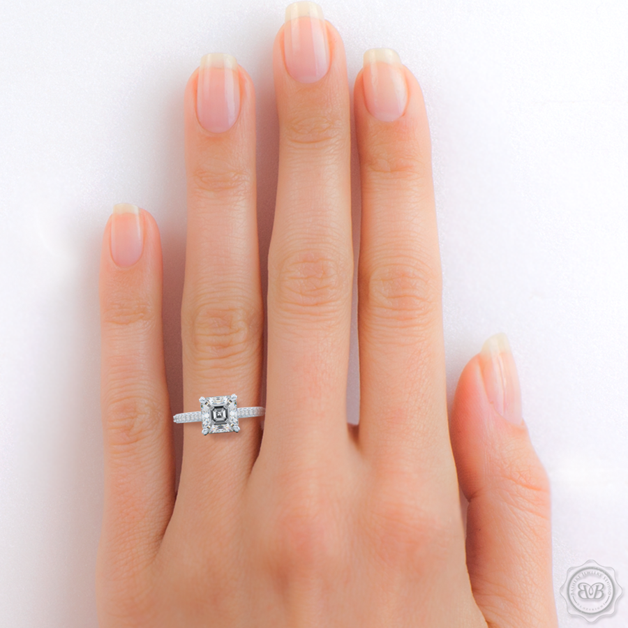 Classic Four-Prong Asscher Cut Diamond Solitaire Ring. Handcrafted in White Gold or Platinum. Elegantly Tapered Bead-Set Diamond Shoulders.  GIA Certified center Diamond.  Free Shipping USA. 30-Day Returns | BASHERT JEWELRY | Boca Raton, Florida.