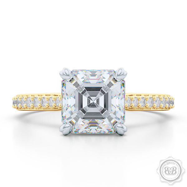 Classic Four-Prong Asscher Cut Moissanite Solitaire Ring. Handcrafted in two-tone Yellow Gold and Platinum. Elegantly Tapered Bead-Set Diamond Shoulders. Forever One Charles & Colvard Moissanite.  Free Shipping USA. 30-Day Returns | BASHERT JEWELRY | Boca Raton, Florida.