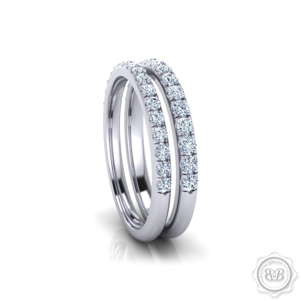 Classic French Pavé Diamond encrusted Wedding Band.  Handcrafted in White Gold or Precious Platinum. Free Shipping for All USA Orders. 30Day Returns | BASHERT JEWELRY | Boca Raton, Florida