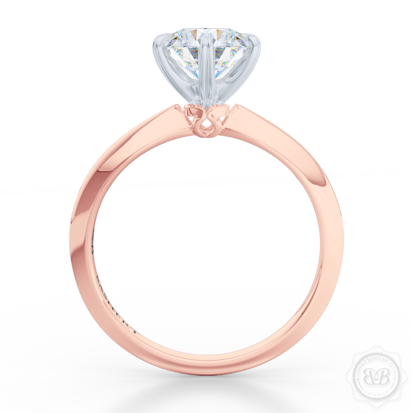 Classic Six-Prong Round Moissanite Solitaire Ring Crafted in Romantic Rose Gold and Precious Platinum.  Create Your Own Dream Engagement Ring.  Free Shipping USA. 30-Day Returns | BASHERT JEWELRY | Boca Raton, Florida