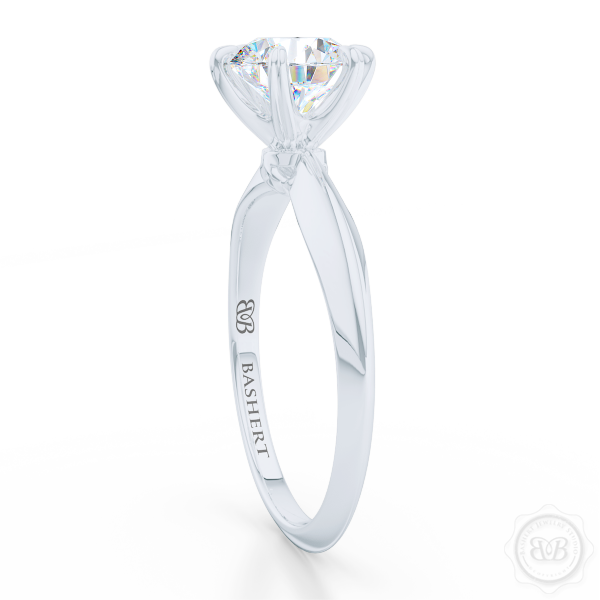 Classic Six-Prong Round Diamond Solitaire Ring Crafted in White Gold or Precious Platinum.  Create Your Own Dream Engagement Ring.  Free Shipping USA. 30-Day Returns | BASHERT JEWELRY | Boca Raton, Florida