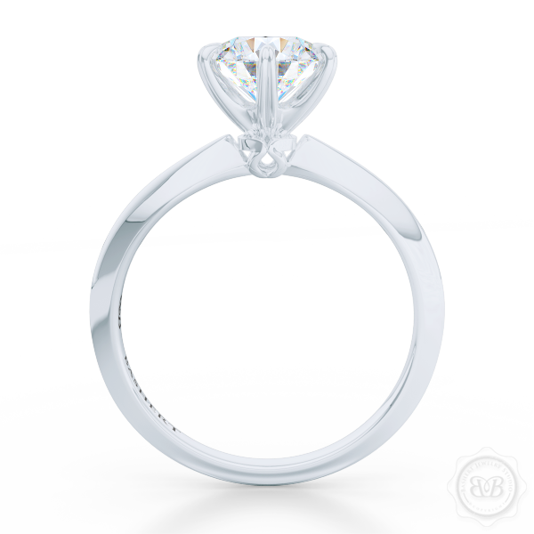 Classic Six-Prong Round Moissanite Solitaire Ring Crafted in White Gold or Precious Platinum.  Create Your Own Dream Engagement Ring.  Free Shipping USA. 30-Day Returns | BASHERT JEWELRY | Boca Raton, Florida