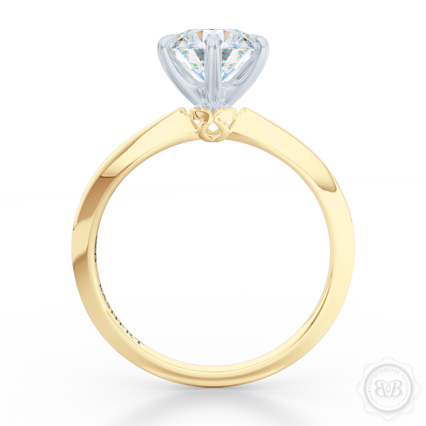 Classic Six-Prong Round Moissanite Solitaire Ring Crafted in Classic Yellow Gold and Precious Platinum.  Create Your Own Dream Engagement Ring.  Free Shipping USA. 30-Day Returns | BASHERT JEWELRY | Boca Raton, Florida