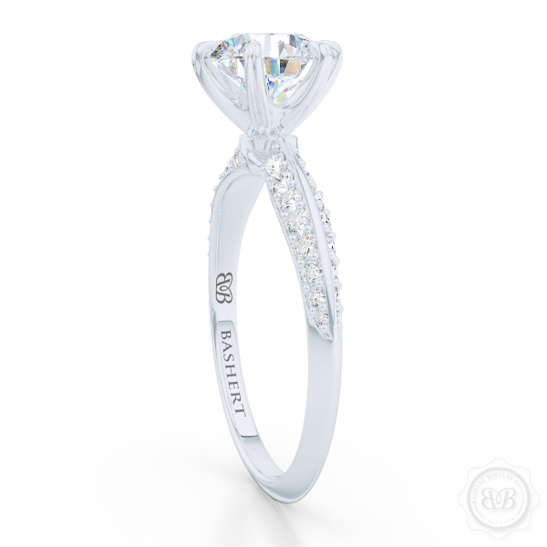 Classic Six-Prong Round Diamond Solitaire Engagement Ring. Elegantly beveled knife -edge, Diamond shoulders. Handcrafted in White Gold and Platinum. Find a GIA Certified Diamond. Free Shipping USA.  30Day Returns | BASHERT JEWELRY | Boca Raton Florida