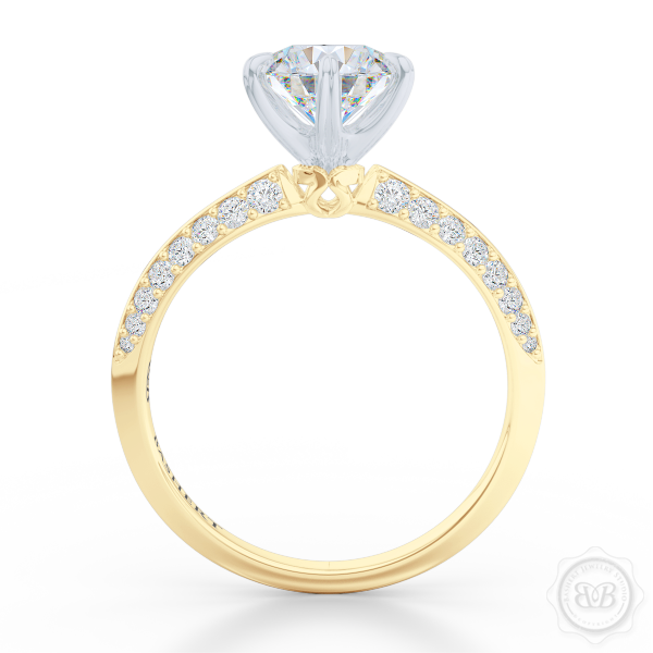 Classic Six-Prong Diamond Solitaire Engagement Ring. Elegantly beveled knife-edge, Diamond encrusted shoulders. Handcrafted in two-tone Yellow Gold and Platinum crown. GIA Certified Round Brilliant Diamond. Free Shipping USA.  30-Day Returns | BASHERT JEWELRY | Boca Raton, Florida.