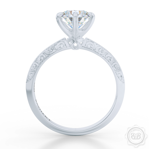 Classic knife-edge, Six-Prong Round Diamond Solitaire Engagement Ring. Crafted in White Gold or Precious Platinum. Elegantly hand-engraved shoulders. GIA Certified Diamond. Free Shipping USA. 30-Day Returns | BASHERT JEWELRY | Boca Raton, Florida