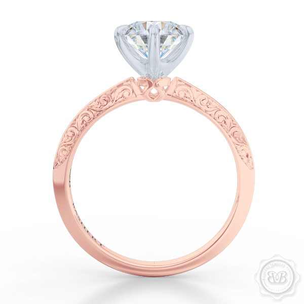 Classic knife-edge six-prong round Diamond Solitaire Engagement Ring. Crafted in Romantic Rose Gold and Precious Platinum. Elegantly hand-engraved starry swirl shoulders. GIA Certified Diamond.  Free Shipping USA. 30-Day Returns | BASHERT JEWELRY | Boca Raton, Florida